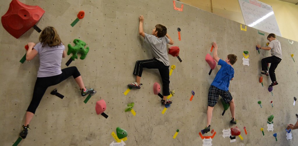 Youth club climbers at Ascension rock club